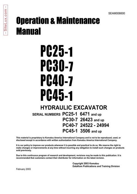 Komatsu PC30MR-2, PC35MR-2 Galeo Hydraulic Excavator OM